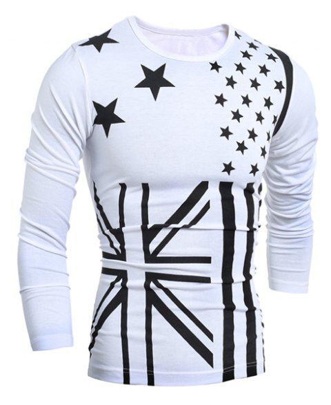 Classic Union Jack and American Flag Print Round Neck Long Sleeves Men's Slimming T-Shirt - WHITE L