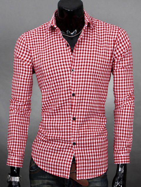 Simple Shirt Collar Color Block Plaid Print Long Sleeves Men's Slimming Shirt - WATERMELON RED XL