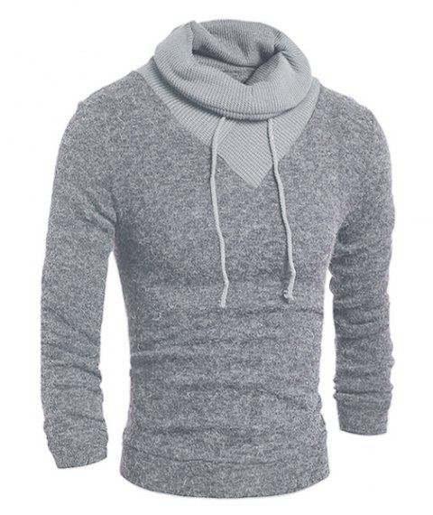 Personality Drawstring Turtleneck Color Block Spliced Long Sleeves Men's Slimming Thicken Sweater - LIGHT GRAY L