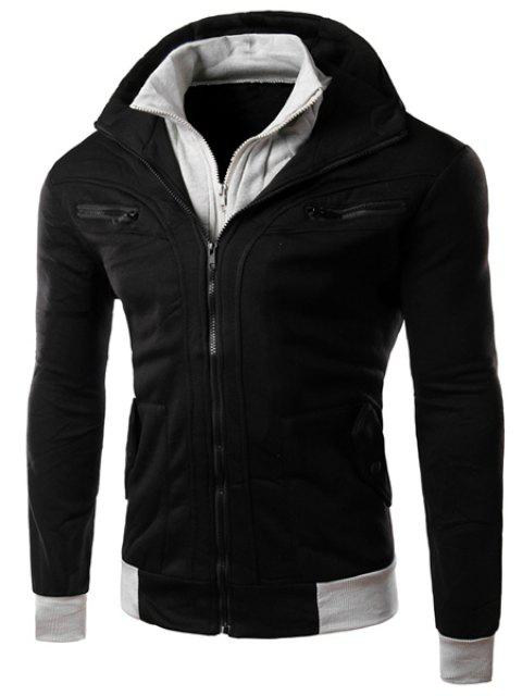 Multi-Zipper Patch Pocket Rib Spliced Hooded Long Sleeves Slimming Men's Thicken Faux Twinset Hoodie - BLACK 2XL
