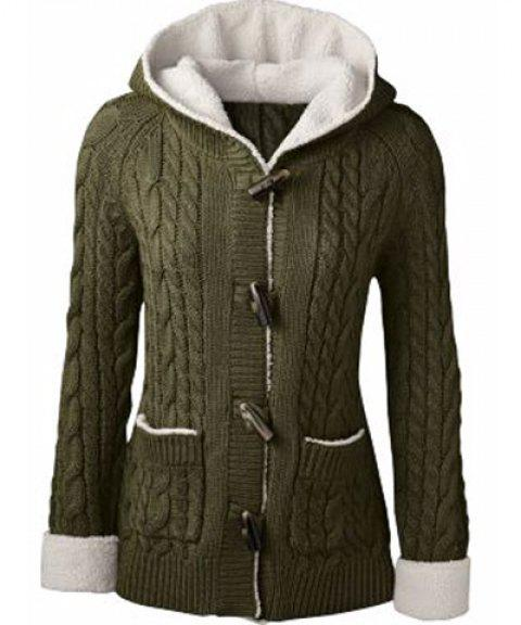 Women's Chic Long Sleeve Solid Color Hooded Cardigan - ARMY GREEN L