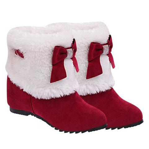 Wedge Heel Bow Trimmed Ankle Boots - RED 39