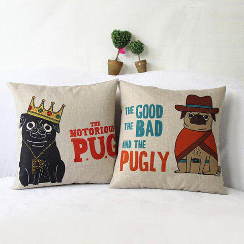 Lovely Cartoon Pugly Printed Square Composite Linen Blend Pillow Case - RANDOM COLOR PATTERN