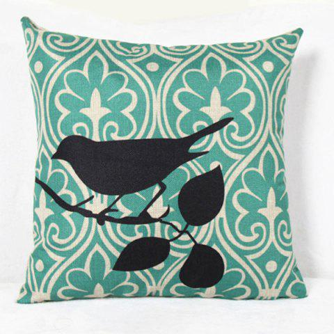 Lovely Bird Printed Square Composite Linen Blend Pillow Case - LIGHT GREEN