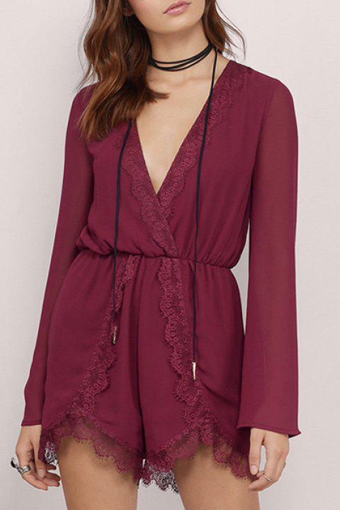 Alluring Plunging Neck Long Sleeve Lace Patchwork Women's Chiffon Romper - WINE RED S