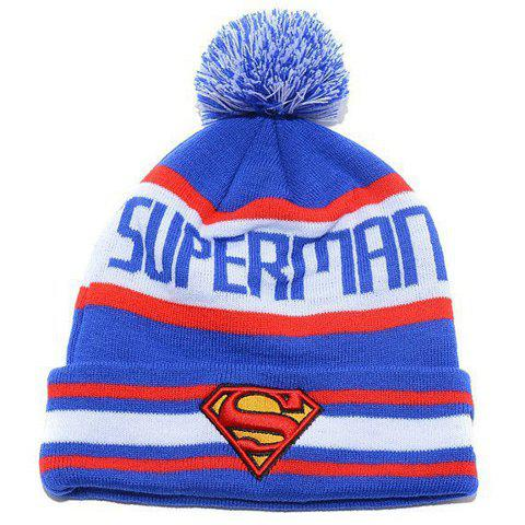 Stylish Small Ball Superman Mark Embroidery Letter Pattern Men and Women's Knitted Beanie - BLUE