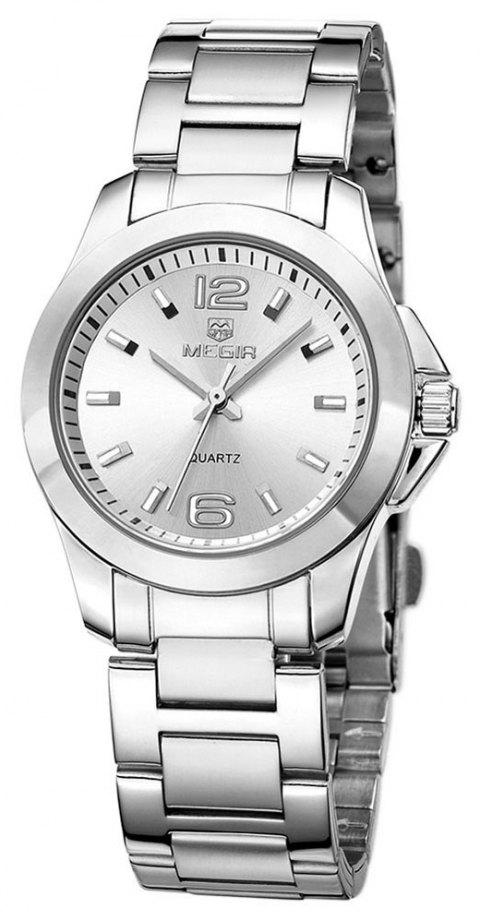 MEGIR 5006L Female Quartz Watch with Stainless Steel Strap 30M Water Resistance - SILVER STEEL WHITE