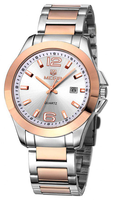 MEGIR 5006G Date Display Male Quartz Watch with Stainless Steel Strap 30M Water Resistance - SILVER GOLD STEEL WHITE