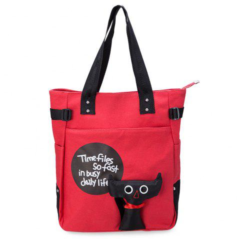 Stylish Canvas High Capacity Portable Cartoon Stamp Multi Color Bags for Teen Girls - WATERMELON RED