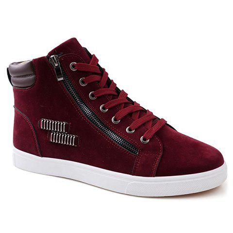Stylish Lace Up and Metal Design Casual Shoes For Men - RED 43