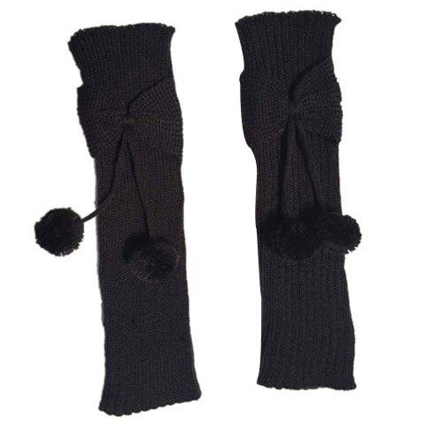 Pair of Chic Small Ball Pendant and Bow Embellished Girls' Knitted Leg Warmers - COLOR ASSORTED