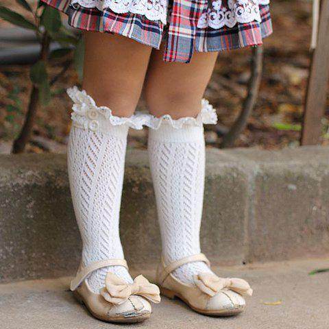 Pair of Chic Button and Lace Embellished Herringbone Girls' Knitted Stockings - RANDOM COLOR