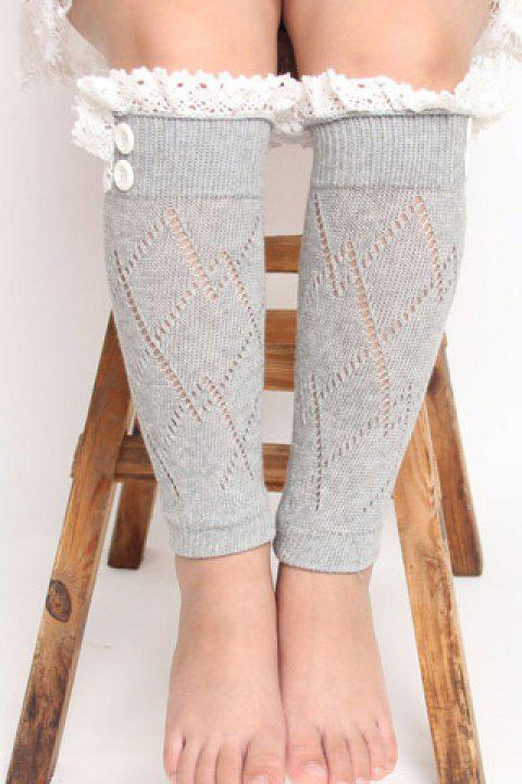 Pair of Chic Lace Button Embellished Rhombus Hollow Out Girls' Knitted Leg Warmers - COLOR ASSORTED