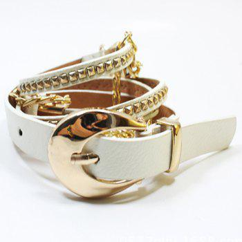 Chic Rivet and Chain Embellished Pin Buckle Women's Slender Belt