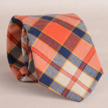 Stylish Orange Matching Plaid Pattern 8CM Width Men's Tie - CHECKED CHECKED