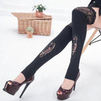 Pair of Chic Hollow Out Lace Embellished Foot Step Women's Leg Warmers -  BLACK