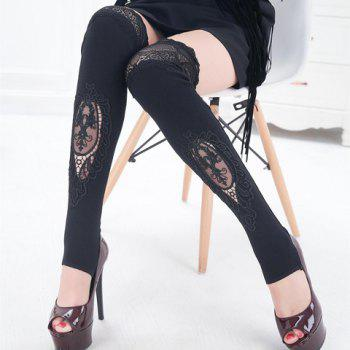 Pair of Chic Hollow Out Lace Embellished Foot Step Women's Leg Warmers - BLACK BLACK