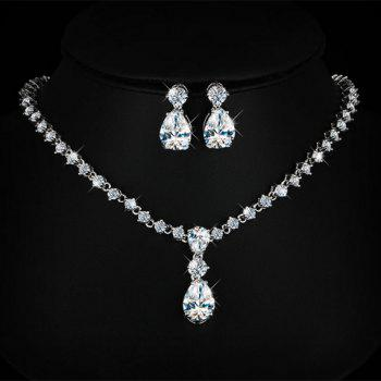 Fake Crystal Water Drop Wedding Jewelry Set