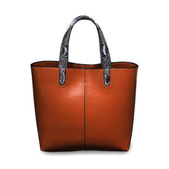 Simple Snake Print and PU Leather Design Women's Tote Bag