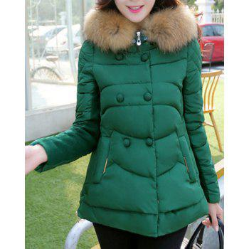 Chic Hooded Long Sleeve Button Design Zippered Women's Coat