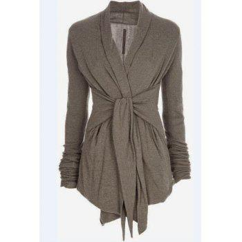 Stylish Turn-Down Collar Long Sleeve Draped Self-Tie Design Women's Coat