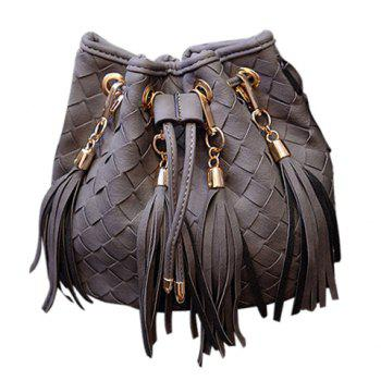Stylish Weaving and Tassels Design Crossbody Bag For Women