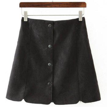 Fashionable Women's High-Waisted Solid Color Suede Skirt