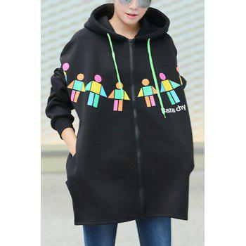 Stylish Hooded Long Sleeve Printed Plus Size Women's Hoodie