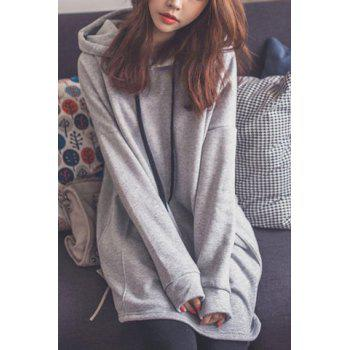 Stylish Hooded Long Sleeve Pocket Design Loose Fitting Women's Hoodie