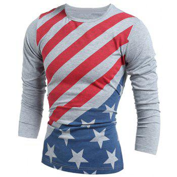 Vogue Slimming Round Neck American Flag Print Color Block Men's Long Sleeves T-Shirt GRAY