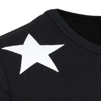 Vogue Slimming Round Neck Star Letters Polka Dot Print Stripes Spliced Men's Long Sleeves T-Shirt - BLACK L