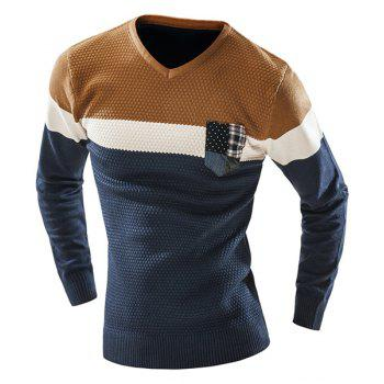 Checked Pocket Color Lump Spliced Geometric Pattern V-Neck Long Sleeves Men's Slimming Sweater