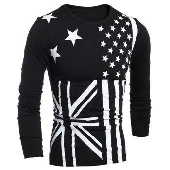 Classic Union Jack and American Flag Print Round Neck Long Sleeves Men's Slimming T-Shirt