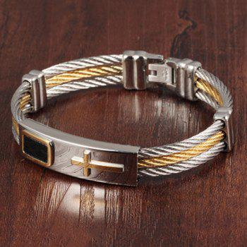 Cross Cable Wire Layered Bracelet - SILVER