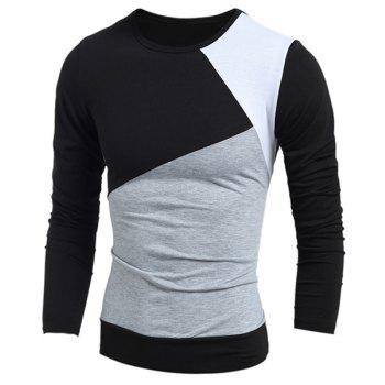 Round Neck Long Sleeves Multicolor Panel T-Shirt