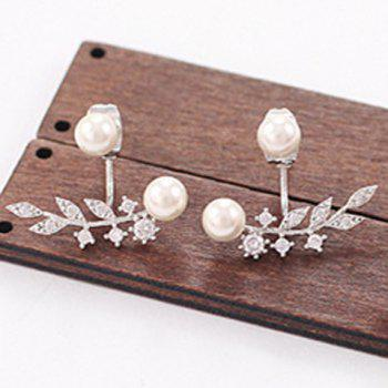 Pair of Faux Pearl Rhinestone Leaf Earrings