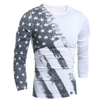 Distressed American Flag Printed Long Sleeve T-Shirt