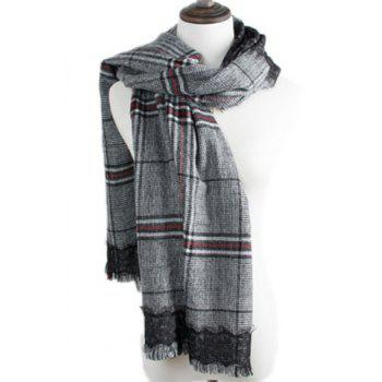 Chic Fringed Edge and Black Lace Embellished Plaid Pattern Women's Scarf
