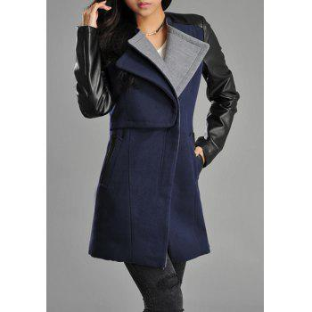 Stylish Long Sleeve Turn-Down Collar Color Block PU Leather Spliced Women's Coat