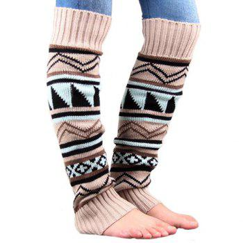 Pair of Chic Tribal Geometric Pattern Women's Knitted Leg Warmers