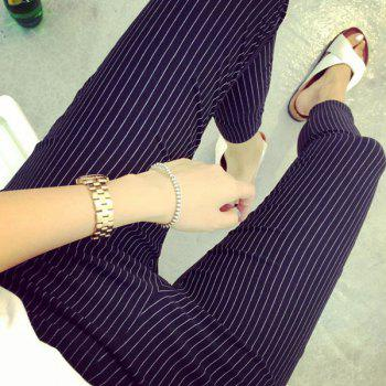 Stylish Black Vertical Striped Maternity Pencil Pants For Women