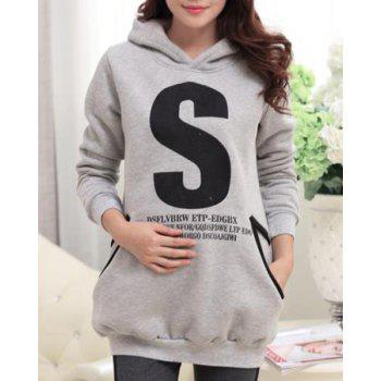 Chic Style Letter Printed Hooded Long Sleeve Maternity Hoodie For Women