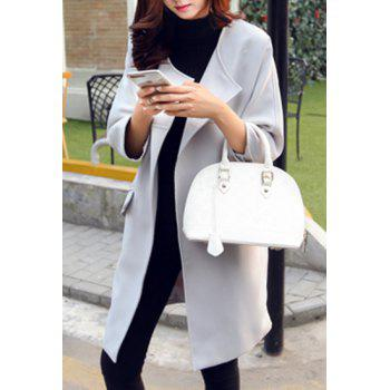 Trendy Women's Turn-Down Collar 3/4 Sleeve Solid Color Trench Coat