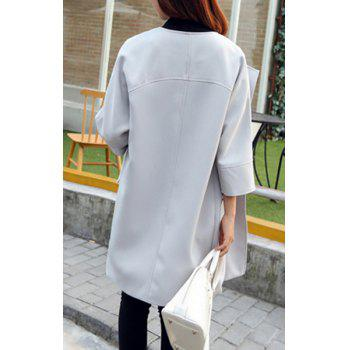 Trendy Women's Turn-Down Collar 3/4 Sleeve Solid Color Trench Coat - LIGHT GRAY S