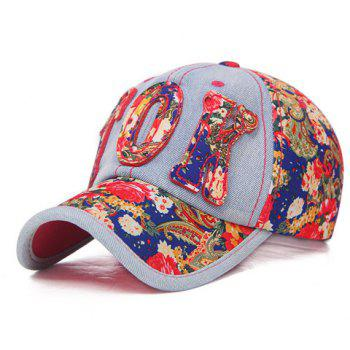 Chic Letter Shape Embellished Flowers Pattern Women's Jeans Baseball Cap -  COLOR ASSORTED