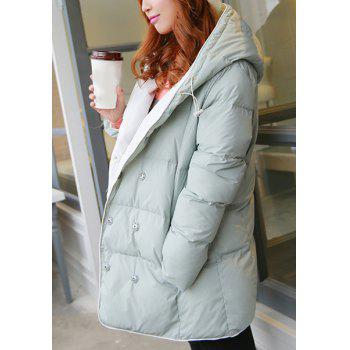 Sweet Hooded Long Sleeve Buttoned Pocket Design Women's Down Coat - GRAY XL