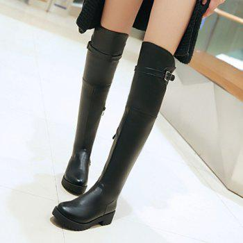 Stylish Zipper and Low Heel Design Thigh Boots For Women - BLACK 37