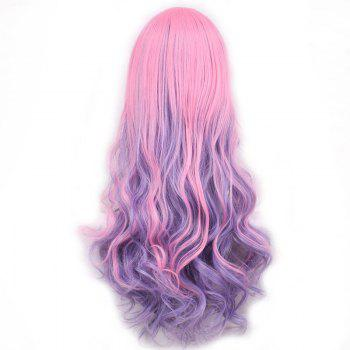 Fluffy Wavy Side Bang Long Pink Ombre Purple Trendy Synthetic Lolita Style Women's Cosplay Wig - OMBRE