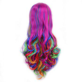 Shaggy Wavy Synthetic Harajuku Long Side Bang Fashion Colorful Ombre Cosplay Wig For Women - OMBRE