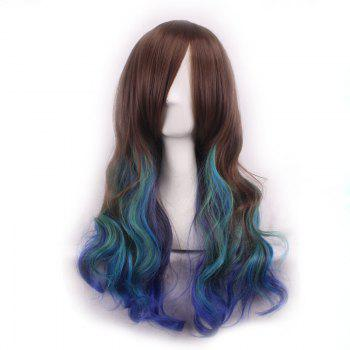 Trendy Inclined Bang Multicolor Gradient Long Shaggy Wavy Synthetic Costume Play Wig For Women - OMBRE